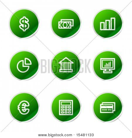 Finance icons, green stickers series