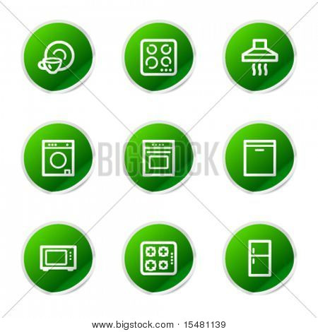 Home appliances icons, green stickers series