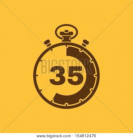 The 35 seconds, minutes stopwatch icon. Clock and watch, timer, countdown, stopwatch symbol. UI. Web. Logo. Sign. Flat design. App. Stock vector