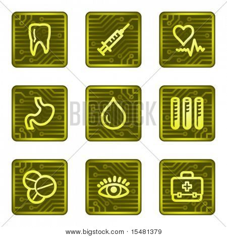 Medicine web icons, electronics card series