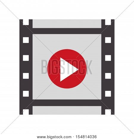 video player with play button over white background. cinema design. vector illustration