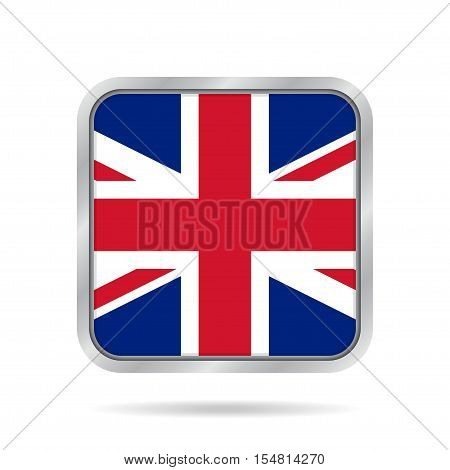 National flag of Great Britain. Shiny metallic gray square button with shadow.