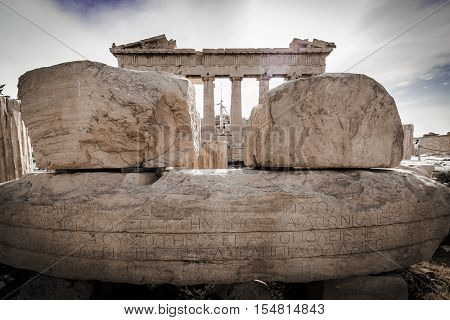 Background image of reconstruction of Parthenon in Acropolis Athens Greece
