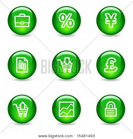 E-business web icons, green glossy sphere series