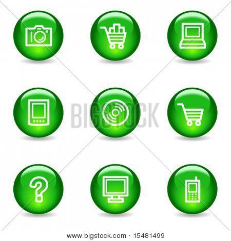 Electrónica web iconos, serie verde esfera brillante