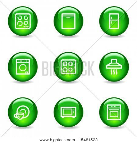 Home appliances web icons, green glossy sphere series