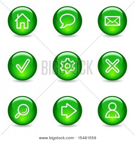 Basic web icons, green glossy sphere series