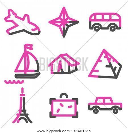 Viaje 2 serie de contorno de los iconos, Rosa web