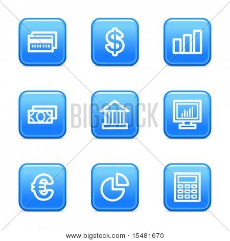 Finance web icons, blue glossy buttons series