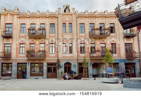 TBILISI, GEORGIA - OCT 10, 2016: Blurs from walking people on reconstructed street David Agmashenebeli with historical houses on October 10, 2016. Tbilisi has a population of 1.5 million people