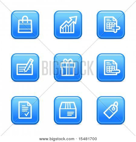 Shopping web icons, blue glossy buttons series