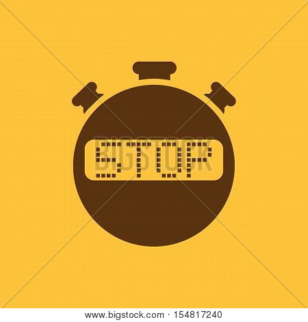 The stop stopwatch icon. Clock and watch, timer, countdown, stopwatch symbol. UI. Web. Logo. Sign. Flat design. App. Stock vector