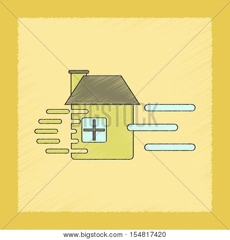 flat shading style icon of wind destroys house