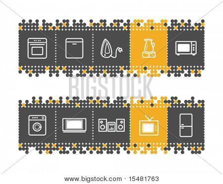 Home appliances web icons on grey and orange dots bar. Vector file has layers, all icons in two versions are included.