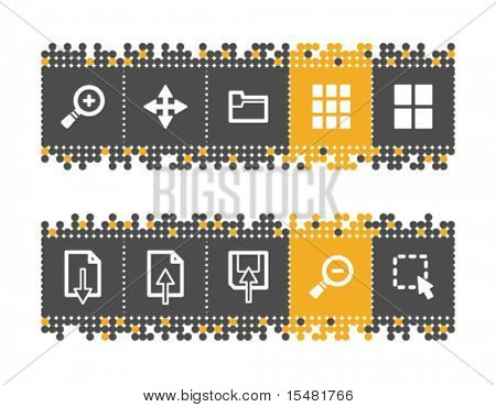 Image viewer web icons on grey and orange dots bar. Vector file has layers, all icons in two versions are included.