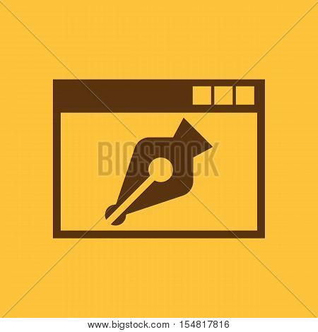 The web design icon. WWW and browser, development, seo, web design symbol. UI. Web. Logo. Sign. Flat design. App. Stock vector