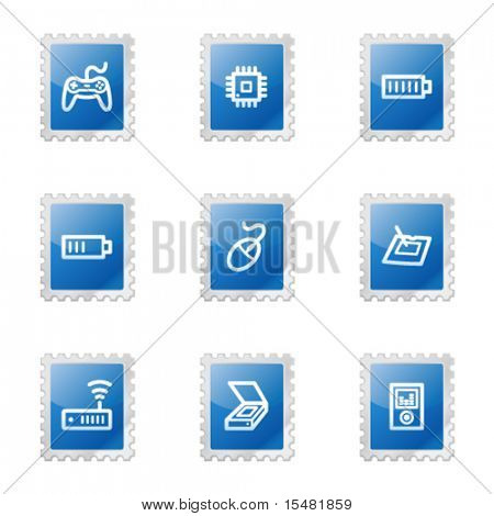 Electronics 2 web icons, blue glossy stamp series