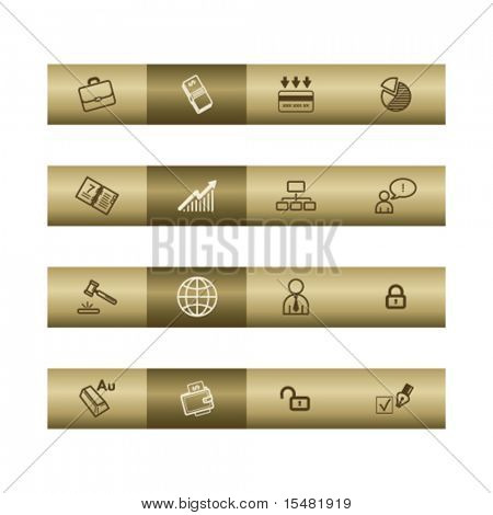 Business web icons on bronze bar. Vector file has layers, all icons in two versions are included.