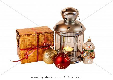 Christmas gift decorations and lantern isolated on white background
