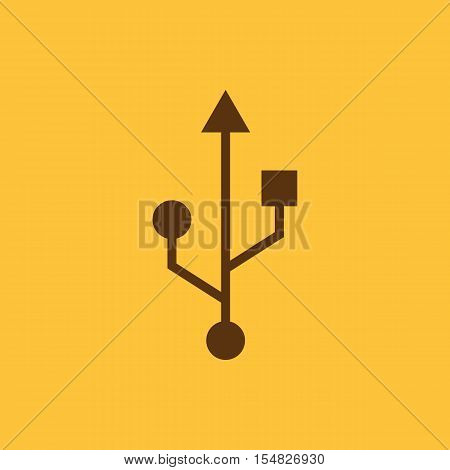 The usb icon. Transfer and connection, data, usb symbol. UI. Web. Logo. Sign. Flat design. App. Stock vector