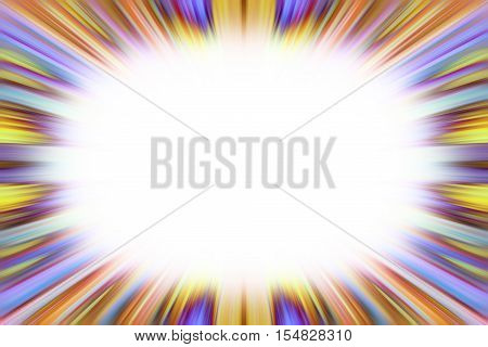 Purple and yellow starburst explosion border with white copyspace centre