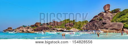 Phang Nga, Thailand - January 4, 2016: Koh Similan No.8 Island with Sailing Boat Rock landmark in Similan National park Phang Nga Thailand. It one of the tourist attraction of the Andaman Sea.