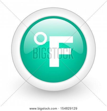 fahrenheit round glossy web icon on white background