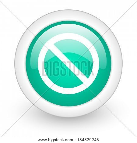 access denied round glossy web icon on white background