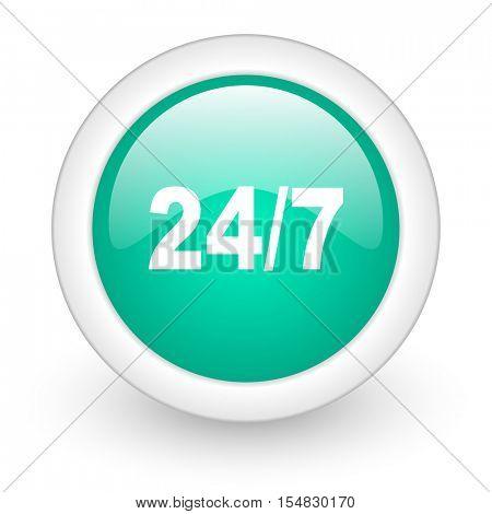 24/7 round glossy web icon on white background