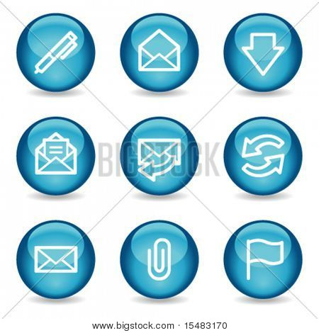 E-mail web icons, blue glossy sphere series