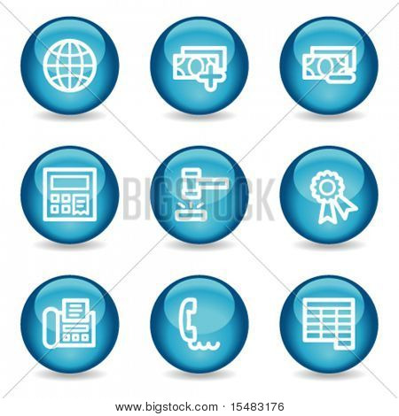 Finance web icons, blue glossy sphere series set 2