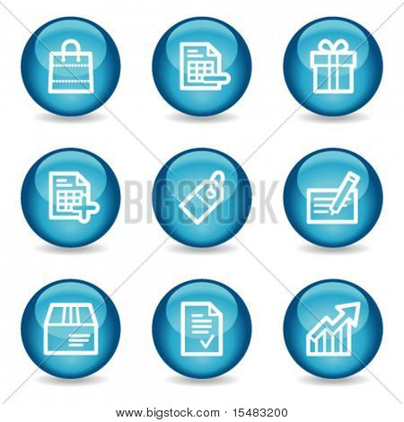 Shopping web icons, blue glossy sphere series