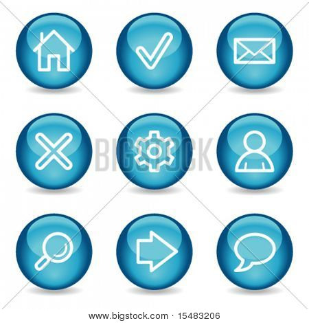 Basic web icons, blue glossy sphere series
