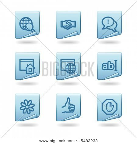 Internet communication web icons, blue sticker series