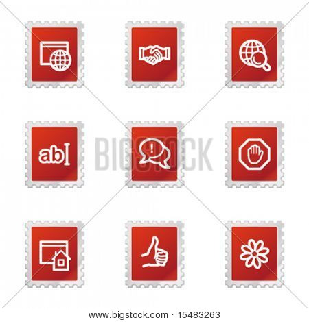 Internet communication web icons, red stamp series