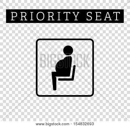 Pregnant, mom or mother sign. Priority seating for customers, special place icon isolated on background. Vector illustration flat style.