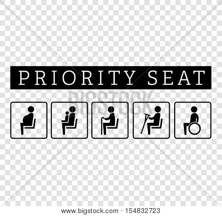 Disabilities and seniors, cripple, pregnant, mom or mother with child area sign set. Priority seating for customers, special place icons isolated on background. Vector illustration flat style