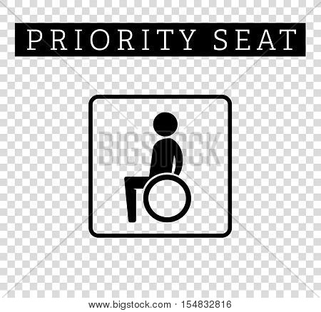 Disabilities or cripple in wheelchair sign. Priority seating for customers, special place icon isolated on background. Vector illustration flat style.