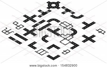 Constructor roads in isometric view. Isometric road elements. Create your own isometric city road. Vector illustration.