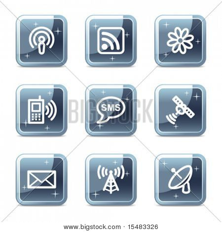 Communication web icons, square blue mineral buttons series
