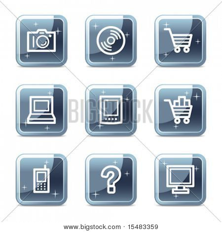 Electronics web icons, square blue mineral buttons series