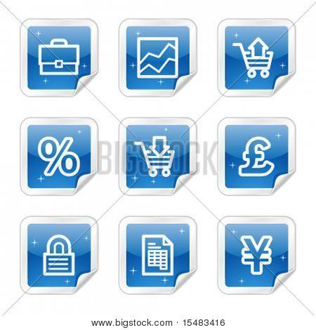 E-business web icons, blue glossy sticker series