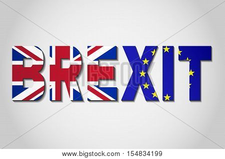 BREXIT - The political process of leaving the United Kingdom from the European Union. Great Britain and European Union flags in BREXIT text.