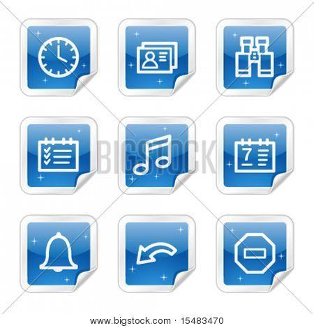 Organizer web icons, blue glossy sticker series