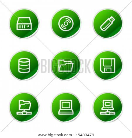 Drives and storage web icons, green sticker series