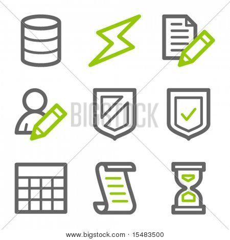 Database web icons, green and gray contour series