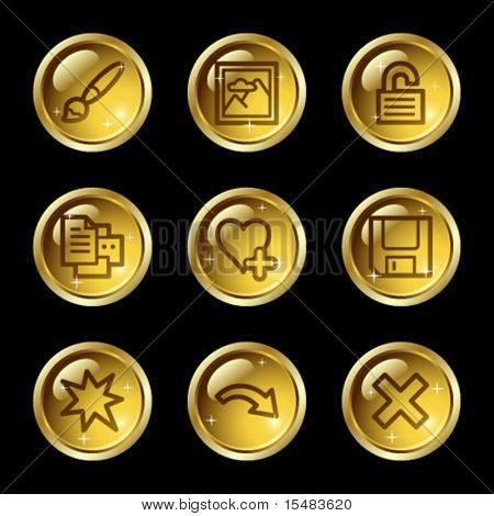 Image viewer web icons, gold glossy buttons series set 2