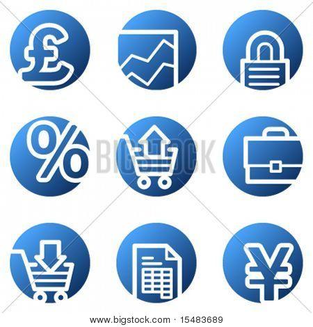 E-business web icons, blue circle series