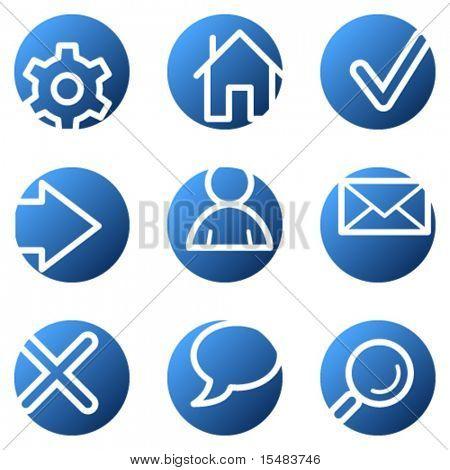 Basic web icons, blue circle series