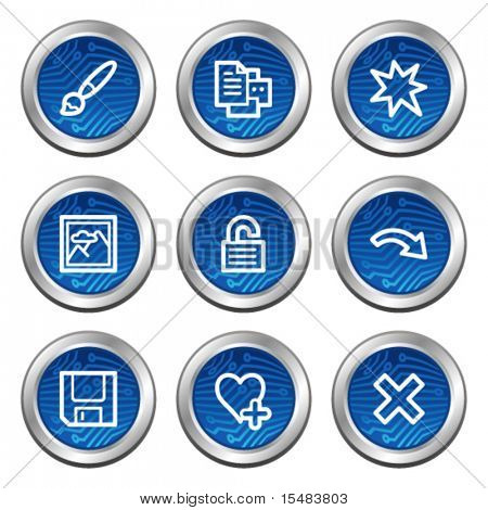Image viewer web icons, blue electronics buttons series set 2